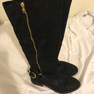 Black with gold buckle tall boot
